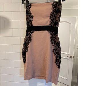 Strapless lace detail dress